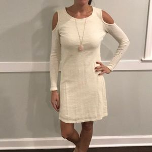 Anthropologie-Cream Shoulderless Long Sleeve Dress